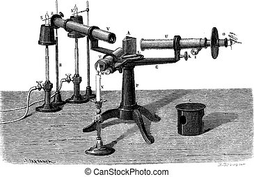 The Spectroscope or spectrophotometer, vintage engraving. -...