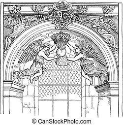 Jesuit Church, rue Saint-Antoine, vintage engraving - Jesuit...