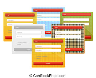 web element login forms set - colored and textured web...