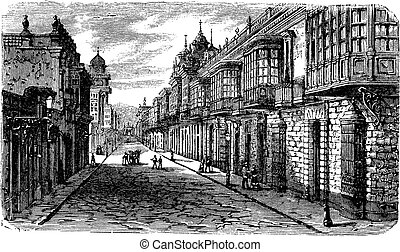 Coca and Bodegones intersection in Lima, vintage engraving....