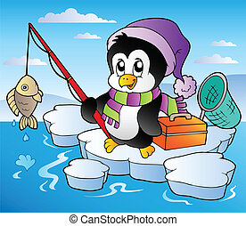 Cartoon fishing penguin - vector illustration