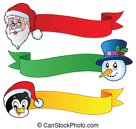 Christmas ribbons collection 1 - vector illustration.