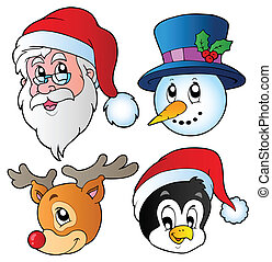 Christmas faces collection 3 - vector illustration