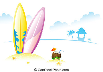 Surfing Board with Coconut - illustration of surfing board...