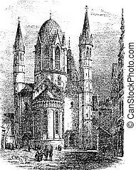 Mainz Cathedral or St. Martin's Cathedral in Mainz Germany vintage engraving