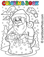 Coloring book Santa Claus theme 3 - vector illustration.