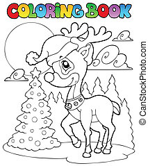 Coloring book Christmas deer 1 - vector illustration.