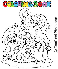 Coloring book penguins and tree - vector illustration