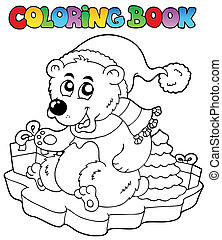 Coloring book Christmas bear - vector illustration.