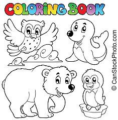 Coloring book happy winter animals