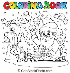 Coloring book Santa Claus theme 4 - vector illustration.