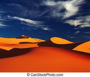 Sahara Desert, Algeria - Sand dune in Sahara Desert at...