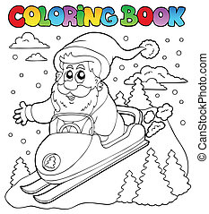 Coloring book Santa Claus topic 4 - vector illustration.