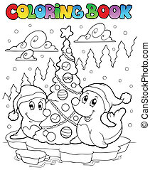 Coloring book two seals with tree - vector illustration.