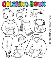 Coloring book winter apparel 1 - vector illustration.