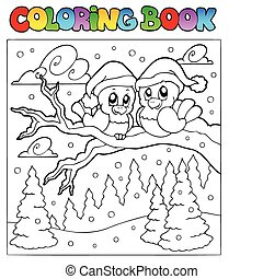 Coloring book two winter birds - vector illustration