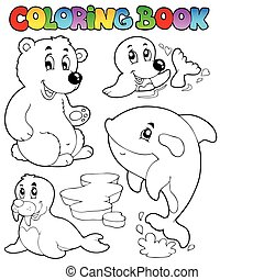 Coloring book wintertime animals 1 - vector illustration.