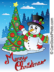 Merry Christmas card with snowman 1 - vector illustration.