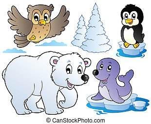Various happy winter animals - vector illustration.