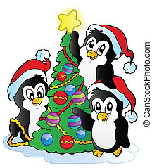 Three penguins with Christmas tree - vector illustration