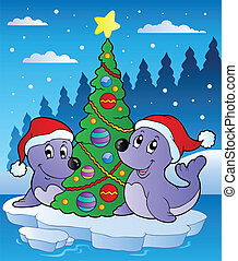 Two seals with Christmas tree