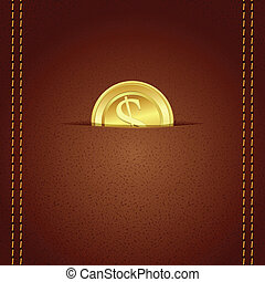 Gold Coin in Wallet - illustration of gold coin in leather...