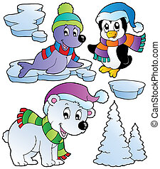 Wintertime animals collection 2 - vector illustration.