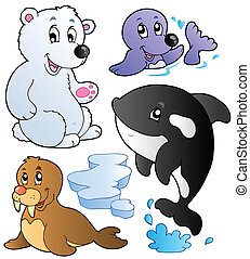 Wintertime animals collection 1 - vector illustration