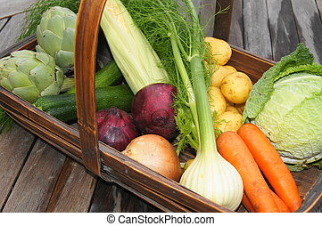 Basket of organic vegetables artichoke, fennel, carrots,...