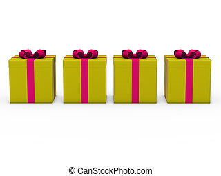 3d gift box gold pink