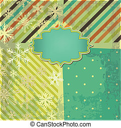 Vector greeting retro background with snowflakes and frame