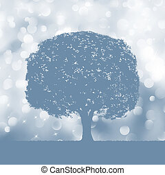 Tree silhouette blue and white landscape EPS 8 vector file...