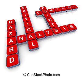 Crossword of haccp - 3d render of crossword haccp (hazard,...