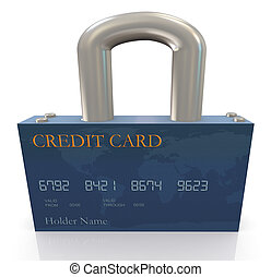 Protection of credit card - 3d render of credit card...
