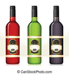 Wine Bottle - illustration of set of colorful wine bottles...