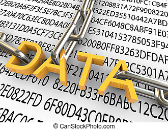 3d concept of data security - 3d text data with closed chain...