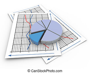 3d pie chart on graph paper - 3d render of pie chart on a...