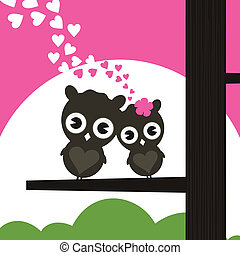 Enamoured owls - Two owls have fallen in love and sit on a...