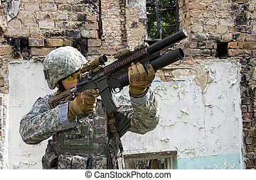 Soldier in action - US Army Soldier in action