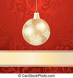 vector christmas background with golden ball