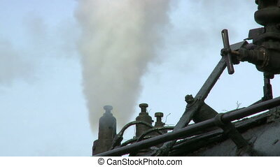 Steam Engine Train Smoke Stack - Close up detail of small...