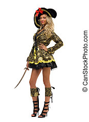 Woman in carnival costume. Pirate shape. Isolated image