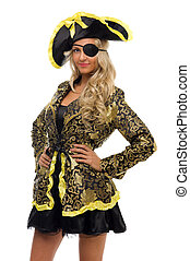 Beautiful woman in a carnival costume Pirate shape Isolated...