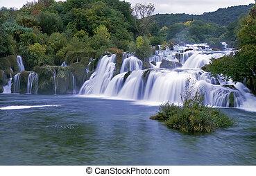 Krk waterfall,Croatia - Panoramic view on Krk falls, Croatia