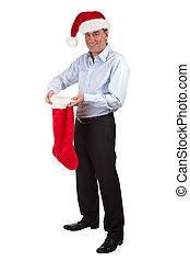 Happy Man in Santa Hat Stocking
