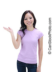 Close-up of a young Asian woman gesturing