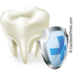 Tooth protection concept - Protected teeth concept. Shiny...
