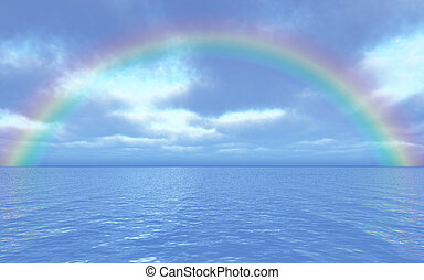 Beautiful seascape with rainbow