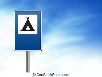 Blue Road Sign - Campground