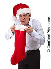 Man in Santa Hat Surprised Stocking